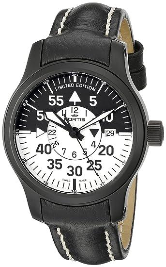 Fortis 672.18.11 L - Reloj para hombres, correa de cuero color negro