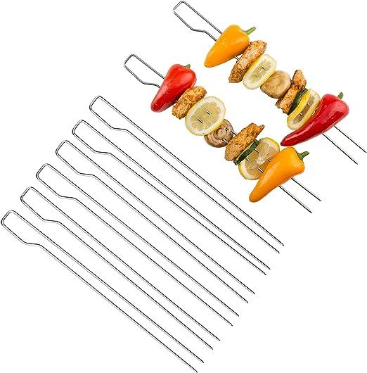 12 X BBQ BARBECUE SPIEDINI 35cm metallo Kebab CIBO CARNE GRILL CUCINA IN ACCIAIO BASTONI