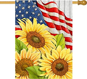 Hzppyz Sunflower House Flag Spring Decorative Yard Outdoor Large Welcome Flag Double Sided, July 4th America Outside Seasonal Decorations Summer USA Patriotic Sign Home Garden Decor Flag 28 x 40