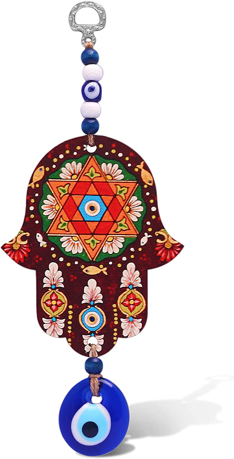Brown Hamsa Hand Wall Hanging With Evil Eye and Jewish Star of David for Home, Gift or Office