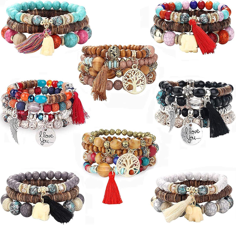 Bohemian Stone Beads Bracelet Luck Men Women Natural Beads Bangle Jewelry