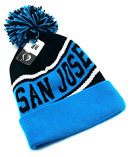 319afd73dff Amazon.com  Legend of the Game San Jose Top Pro New Beanie Cuffed Pom  Sharks Colors Black Teal Era Hat Knit Cap  Sports   Outdoors