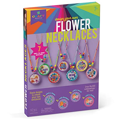 Craft-tastic – Design Your Own Flower Necklaces – Craft Kit Makes 7 Inspirational, Stackable, & Interchangeable Necklaces: Toys & Games
