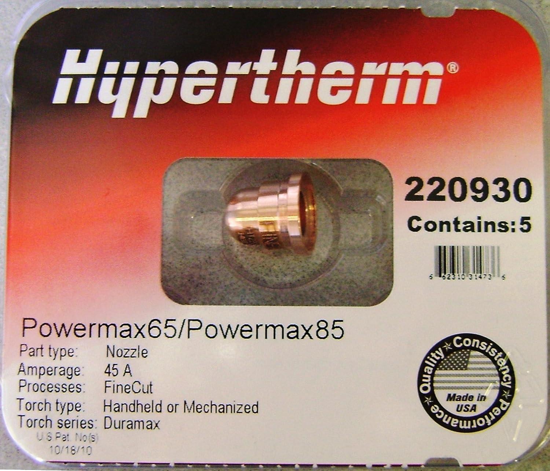 Jack/&Dave 20PCS 220842 Plasma Electrodes 5PCS 220854 Retaining Cap Plasma Tips Fit Hypertherm Powermax 45//65//85//105