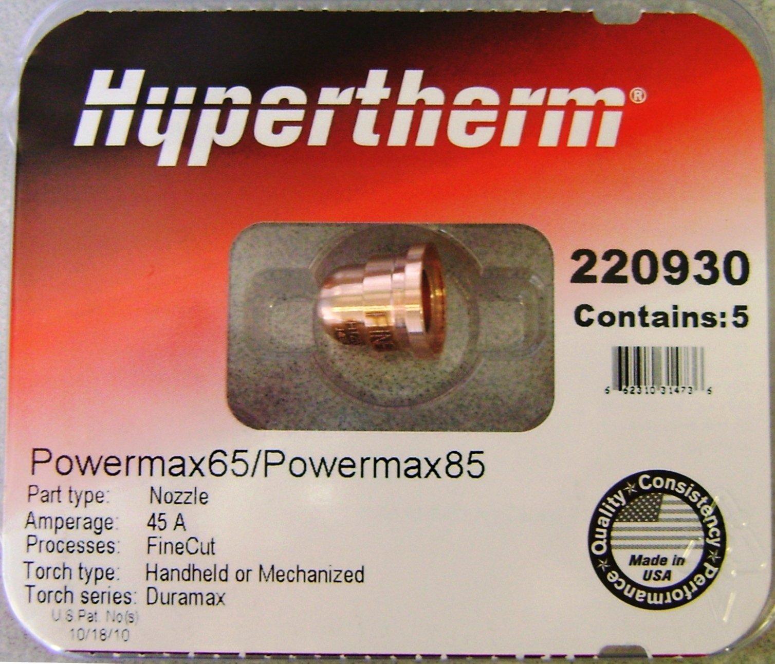 Hypertherm Powermax 65 & 85 Fine Cut Nozzles 220930 by Hypertherm