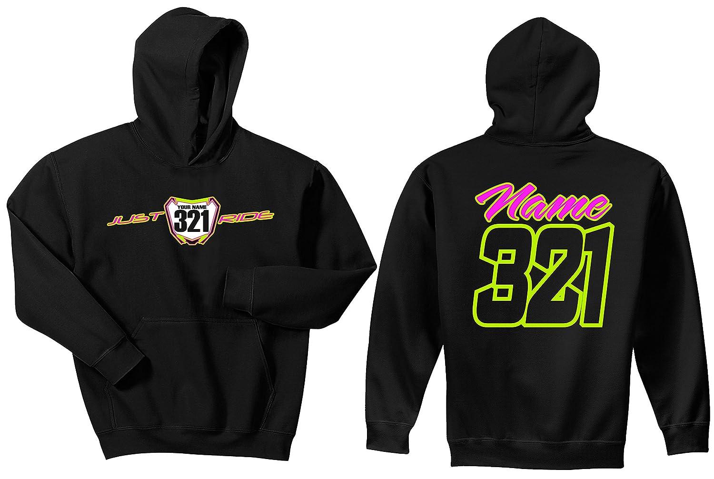 JUST RIDE Motocross Number Plate Custom Personalized Hoodie Sweat Shirt RMZ