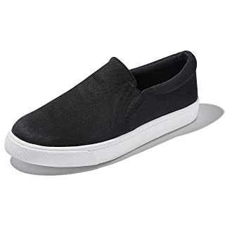 DailyShoes Unisex Flat Memory Foam Slip On Sneakers Cool Printing Sport Road Shoes Adult Lightweight Casual Walking Shoe Slip-on Loafers Black,s,v,6.5