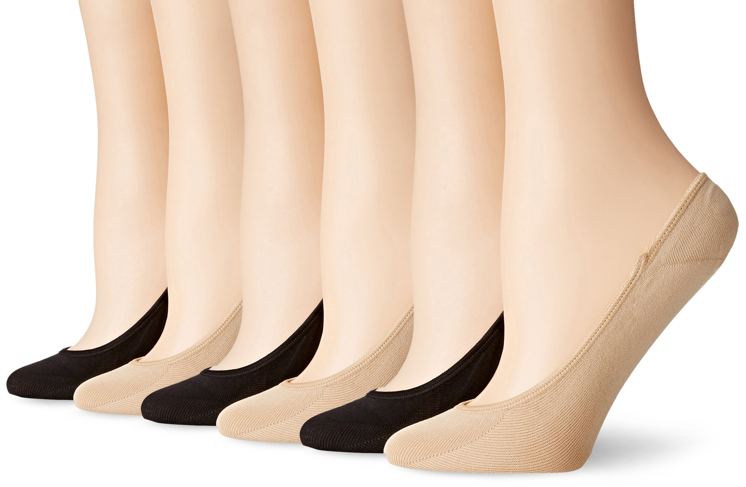 PEDS Women's Ultra Low Microfiber Liner with Gel Tab - 6 Pairs, Black/Nude, Shoe Size 5-10