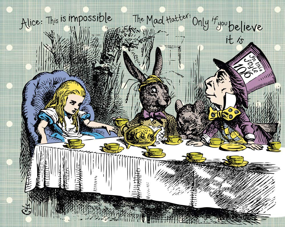 Paper Multi-Colour Ohpopsi Alice in Wonderland Tea Party Wall Mural Large