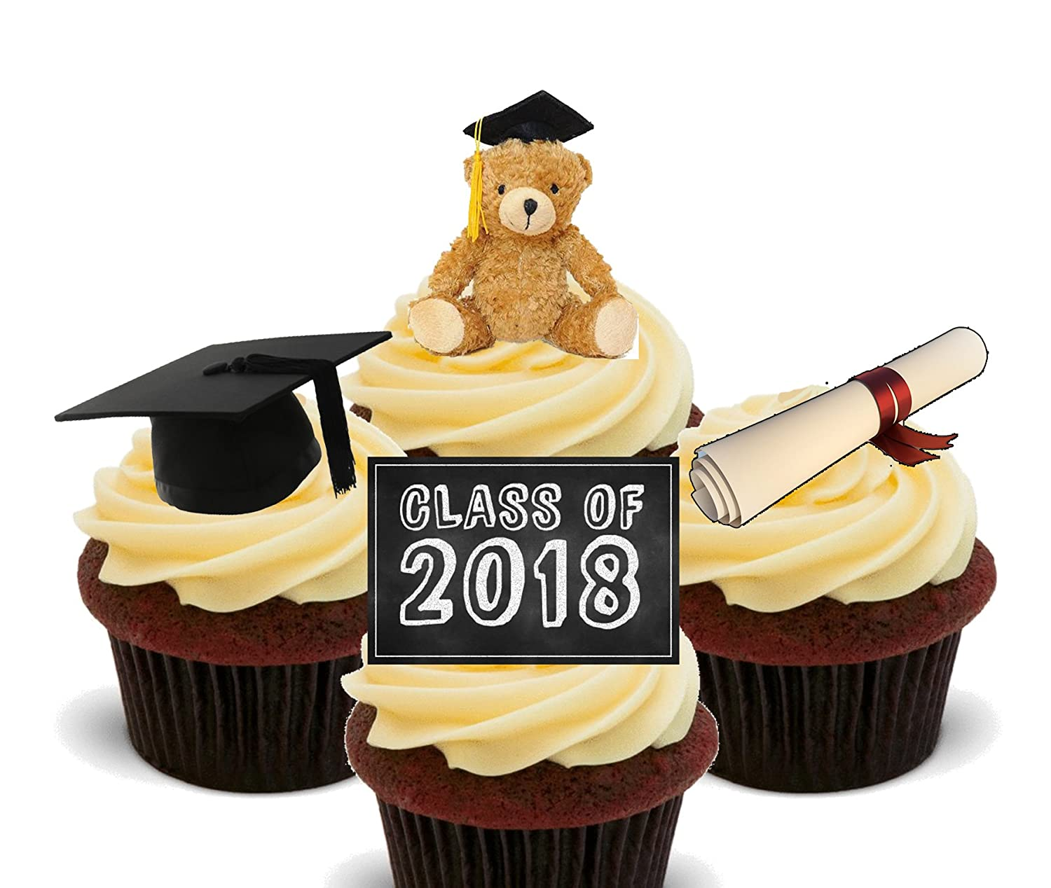 Class of 2018 Graduation Edible Cupcake Toppers - Stand-up Wafer ...