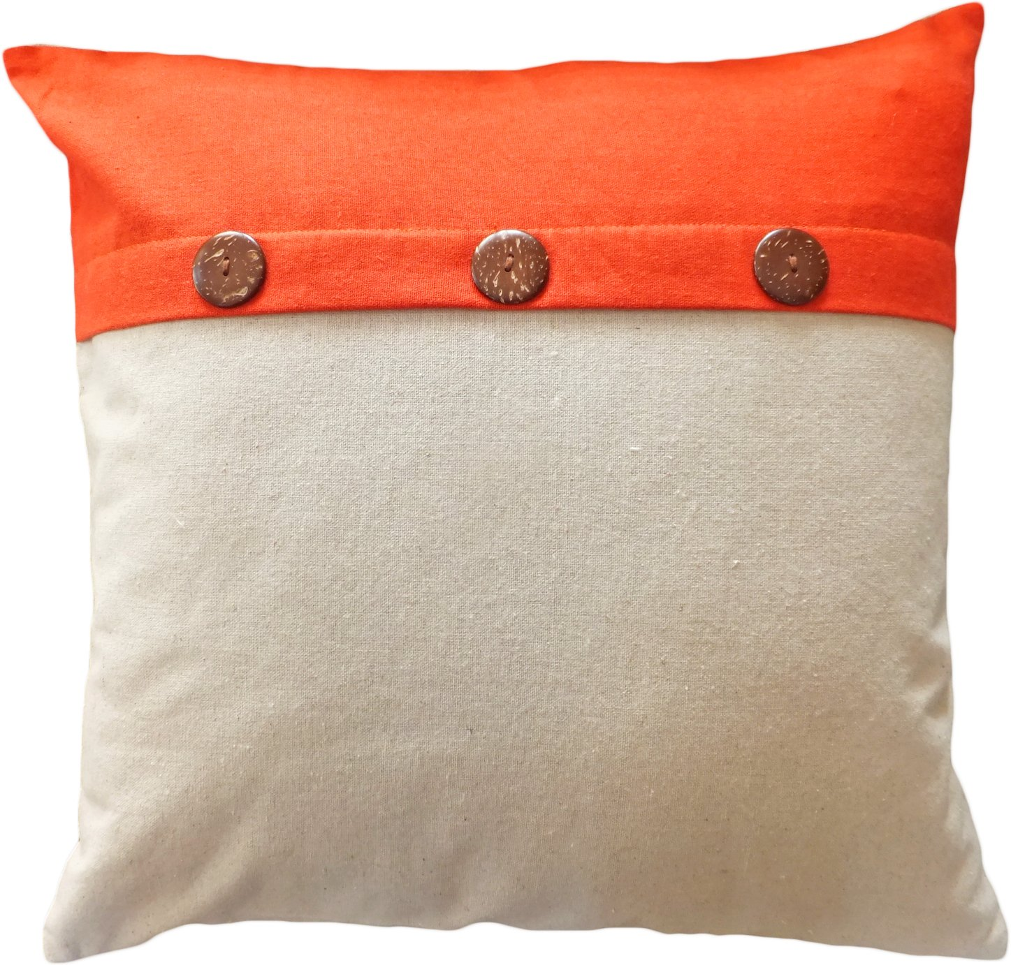 amazoncom decorative coconut buttons throw pillow cover   - amazoncom decorative coconut buttons throw pillow cover  orange home kitchen