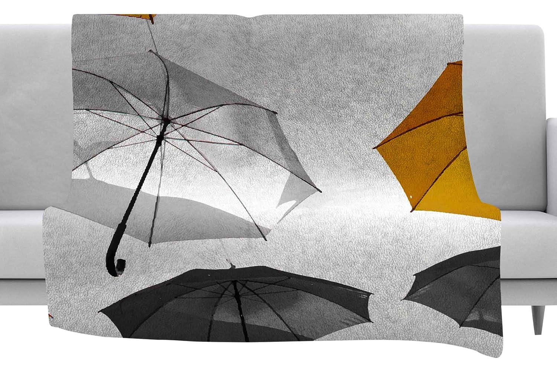 Kess InHouse 888 Design Umbrellas Orange Black Throw 60 x 40 Fleece Blankets