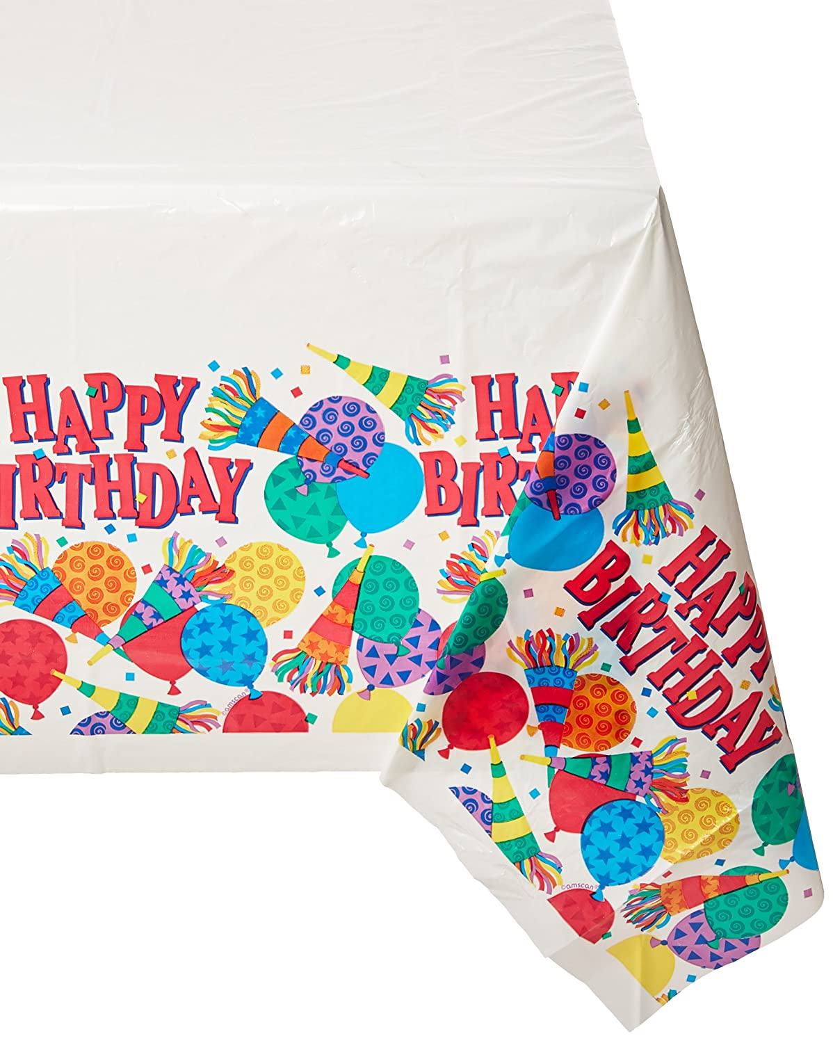 12 Ct 576970 TradeMart Inc Horns /& Balloons Collection Plastic Table Cover Birthday