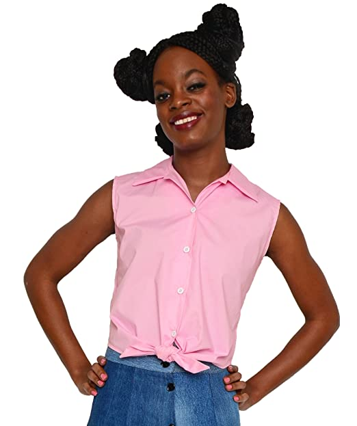 1950s Rockabilly & Pin Up Tops, Blouses, Shirts Sleeveless Tie Front Blouse in Pink Poplin by Hey Viv ! $38.00 AT vintagedancer.com