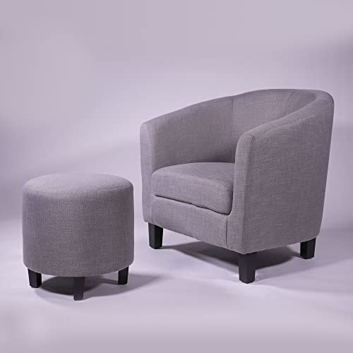 Ocean Bridge Furniture 7AM Collection Lavelle Barrel Chair and Ottoman Set, Grey