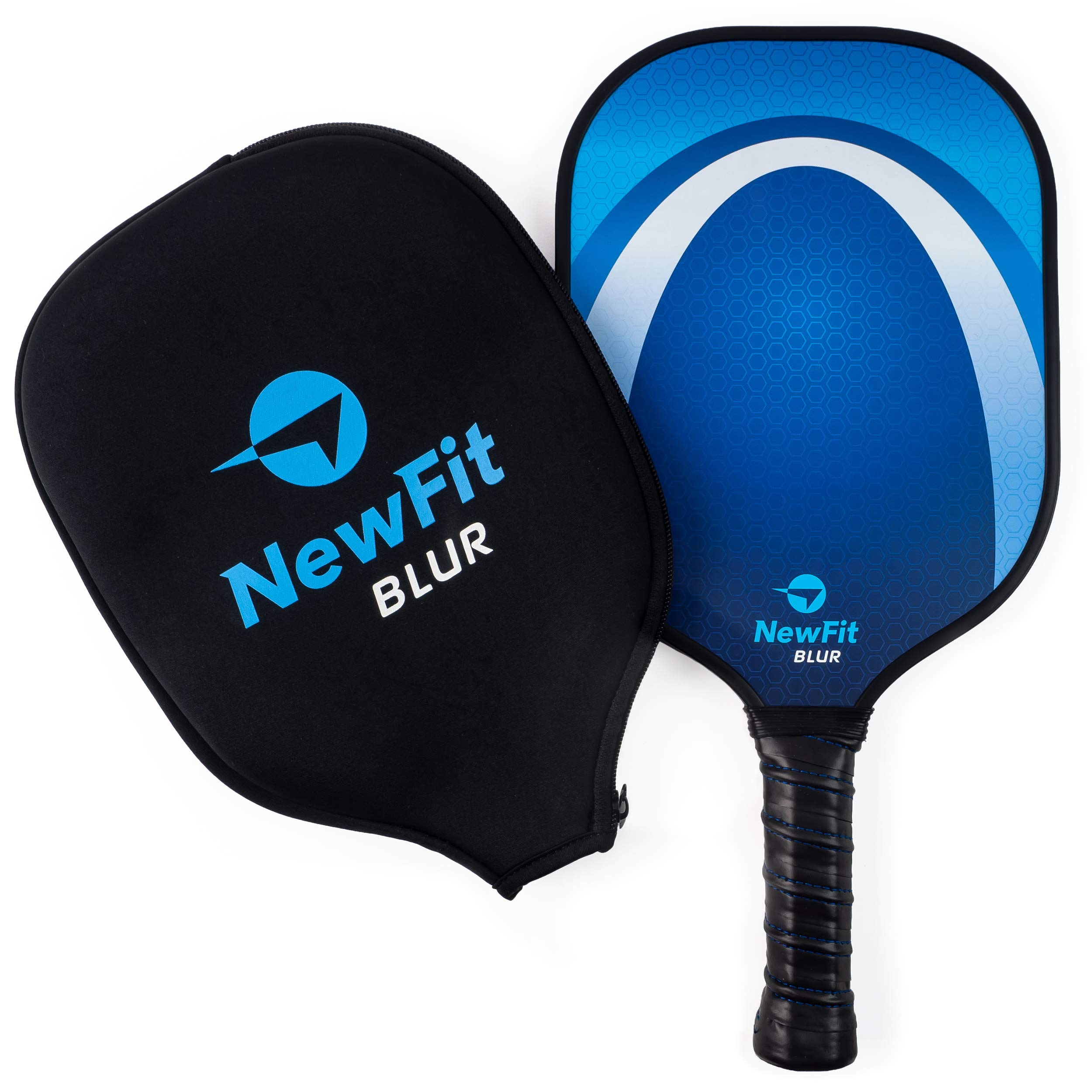 NewFit Blur Pickleball Paddle - USAPA Approved - Graphite Face & Polymer Core for a Quiet and Light Racket (Blue Single) by NewFit Sports