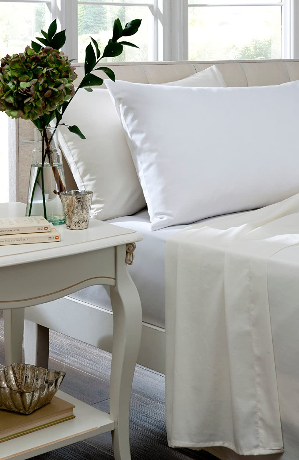 Brighton Hill 12397395 White Egyptian Cotton Double Flat Sheet - White Rapport