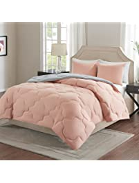 comfort spaces u2013 vixie reversible down alternative comforter mini set 3 piece u2013 coral and