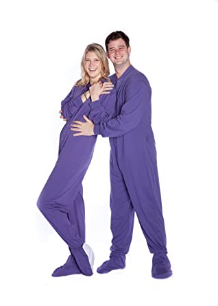 0d65c595e554 Big Feet Pjs Purple Jersey Knit Adult Footed Pajamas with Onesie ...