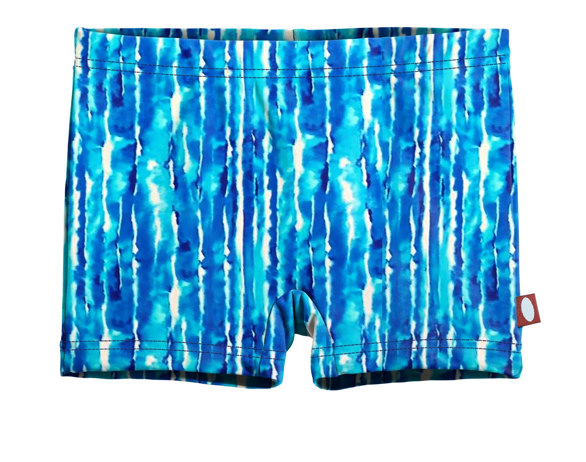 City Threads Girls' Swimming Suit Bottom Boy Short, Water Tie-Dye, 16 by City Threads (Image #1)