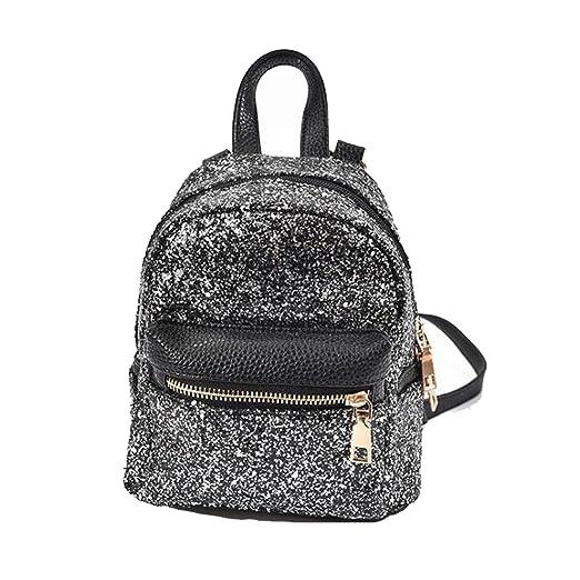 SEALINF Women Girl Bling Mini Backpack Convertible Shoulder Cross Bags  Purse (black) 60b71c236986a