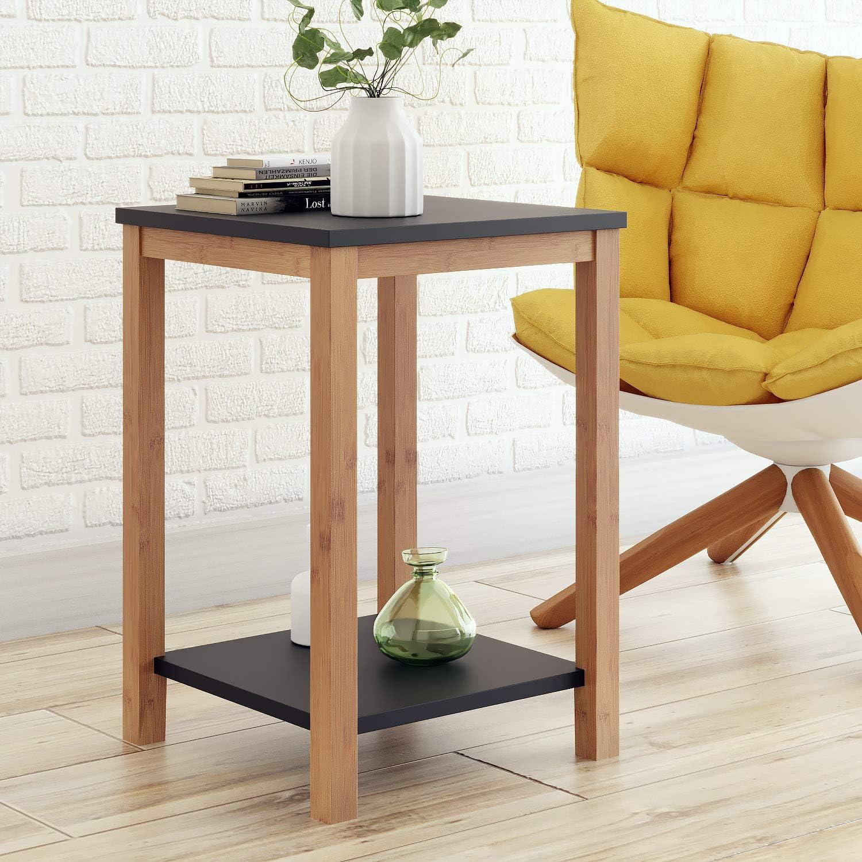- Amazon.com: BAMEOS Side Table Modern Industrial End Table, 2-Tier