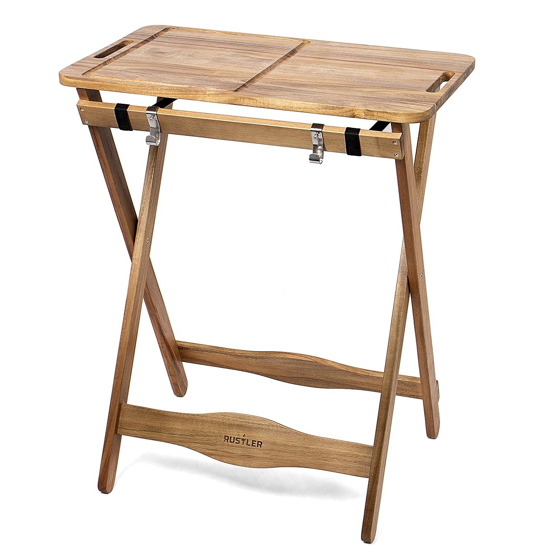 Rustler Tavolino Pieghevole con Tagliere Integrato in Legno di Acacia FSC® 100% adatto anche come Tavolo da Giardino con Vassoio Rimovibile - Dimensioni  70 x 51 x 85 cm