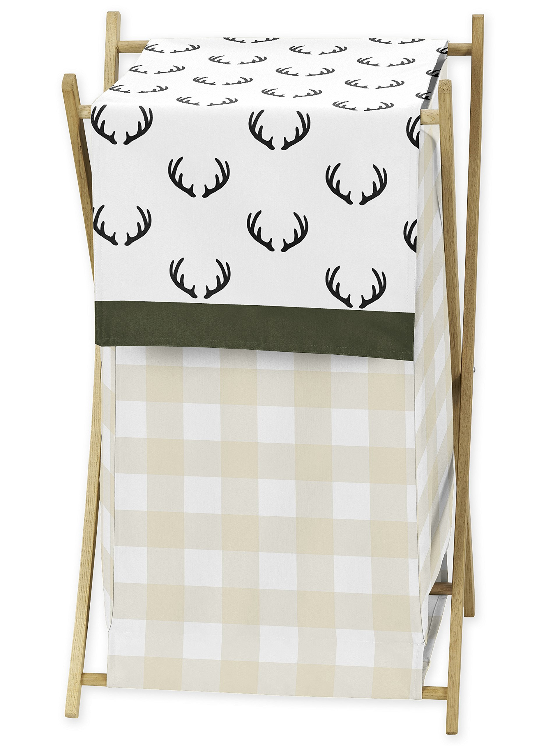 Sweet JoJo Designs Green and Beige Rustic Deer Buffalo Plaid Check Baby Kid Clothes Laundry Hamper for Woodland Camo Collection