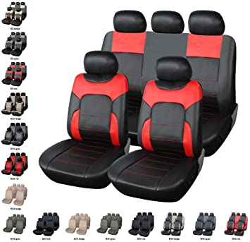 Car Seat Covers Leather Look Red Black