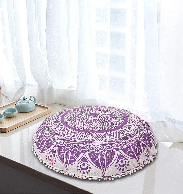 "MY DREAM CARTS 38"" Purple Ombre Mandala Floor Pillow Meditation Cushion Seating Throw Cover Hippie Decorative Bohemian Boho Indian"