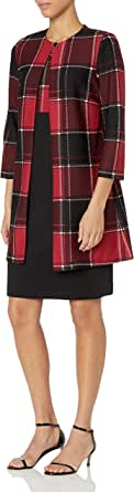 Danny and Nicole Women's Knit Plaid Print Jacket Dress