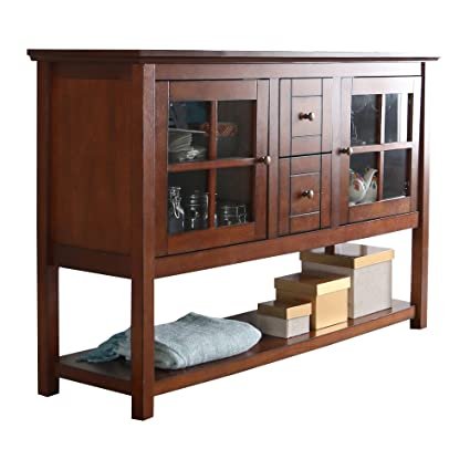 Media Console Table With Storage   Large Glass Doors TV Stand    Entertainment Center Or Sideboard