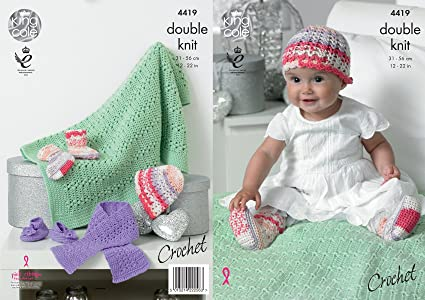 Amazon King Cole Baby Double Knit Crochet Pattern Hat Scarf