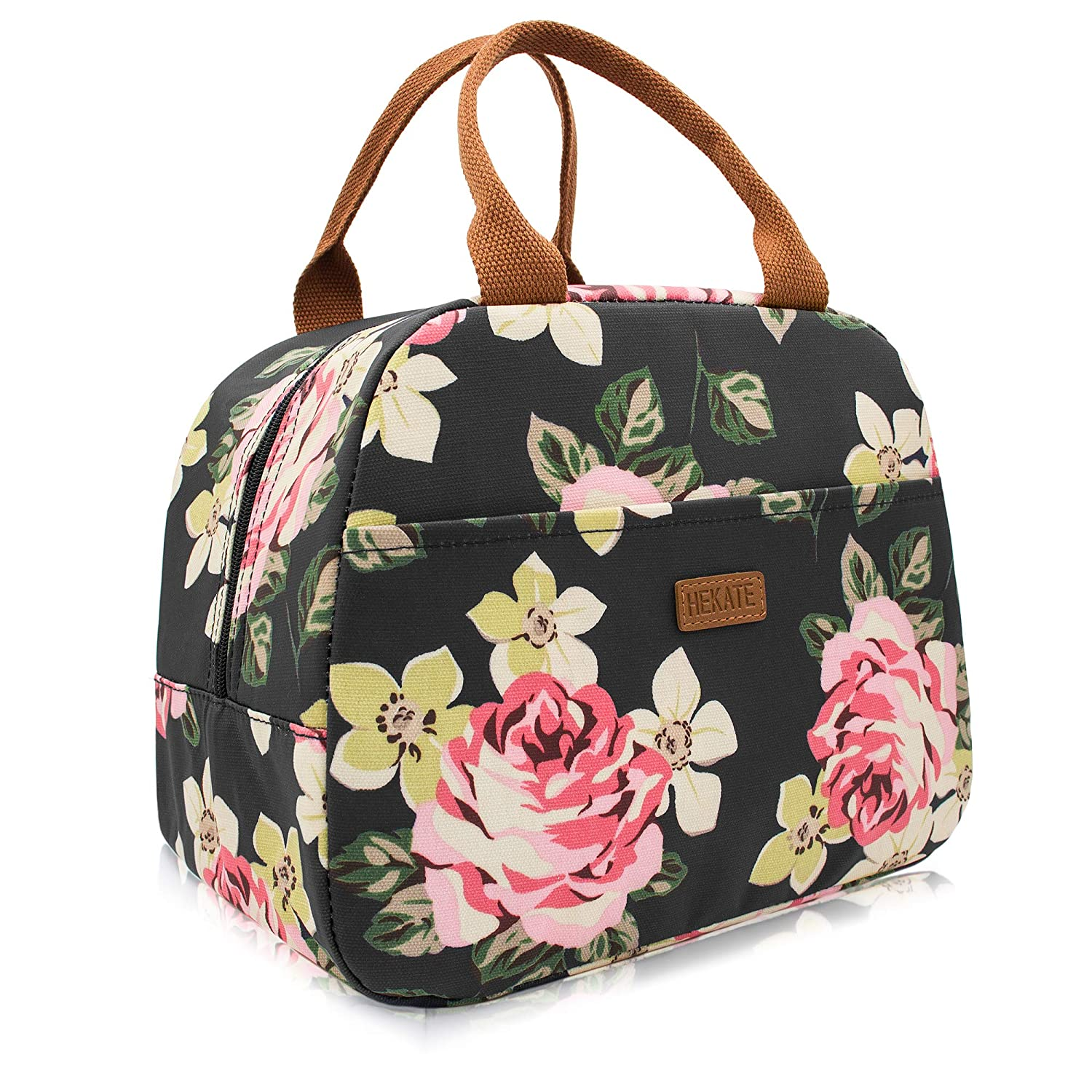 ab55e15a8e1b HEKATE Lunch Bag for women Flower Insulated Fashionable Waterproof Thermal  Floral Cooler Bag (Black)