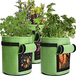 Facmogu 3PCS Garden Potato Grow Bags with Flap and Handles Fabric Pots Heavy Duty, 10 Gallon Potato Tomato Planter Bag Vegetable Planting Bag (Green)