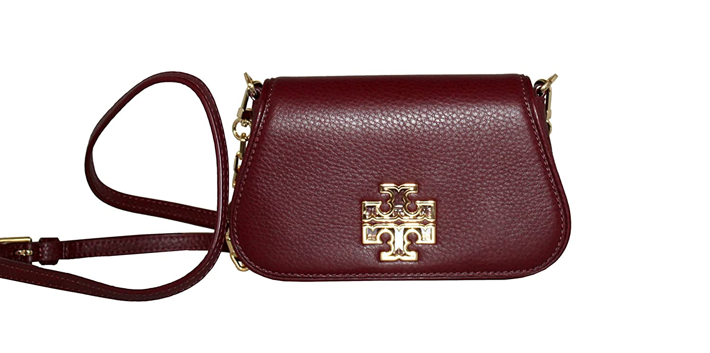 291caef9b22a Tory Burch Crossbody Britten Mini Bag Leather Cross body Hudson Bay Red  Agate  Handbags  Amazon.com