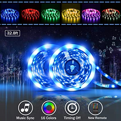 Led strip lights, Tenmiro 32 8ft RGB Sync to Music Color Changing  Strips,40key IR Remote Controller, DC12V5A 300 Unit SMD 5050