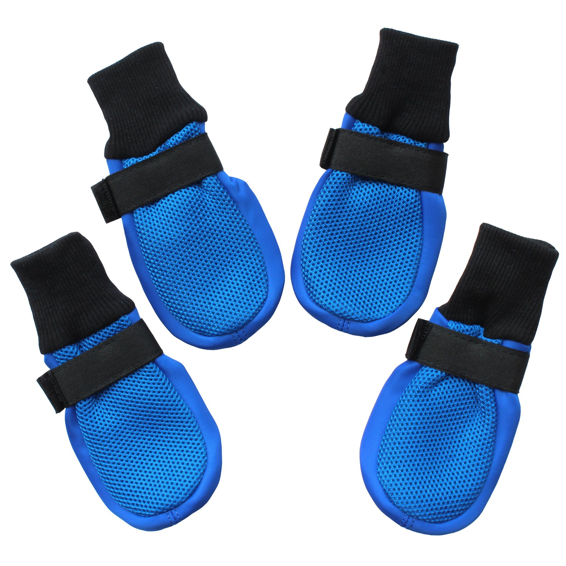 Hiado Dog Shoes Boots Breathable Mesh Anti Slip Traction Soft Rubber Soles Hardwood Floors to Prevent Scratching Sliding Small Dogs Blue S