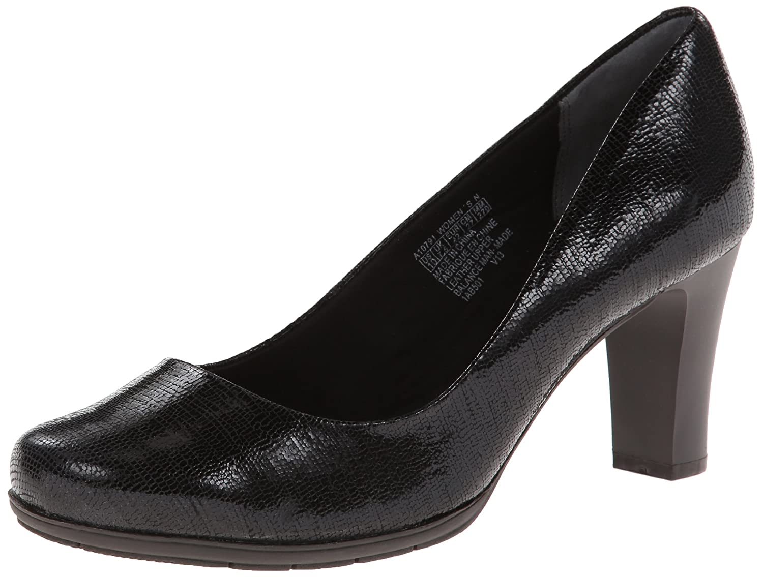 Black Foil Leather Rockport Women's Total Motion Pump