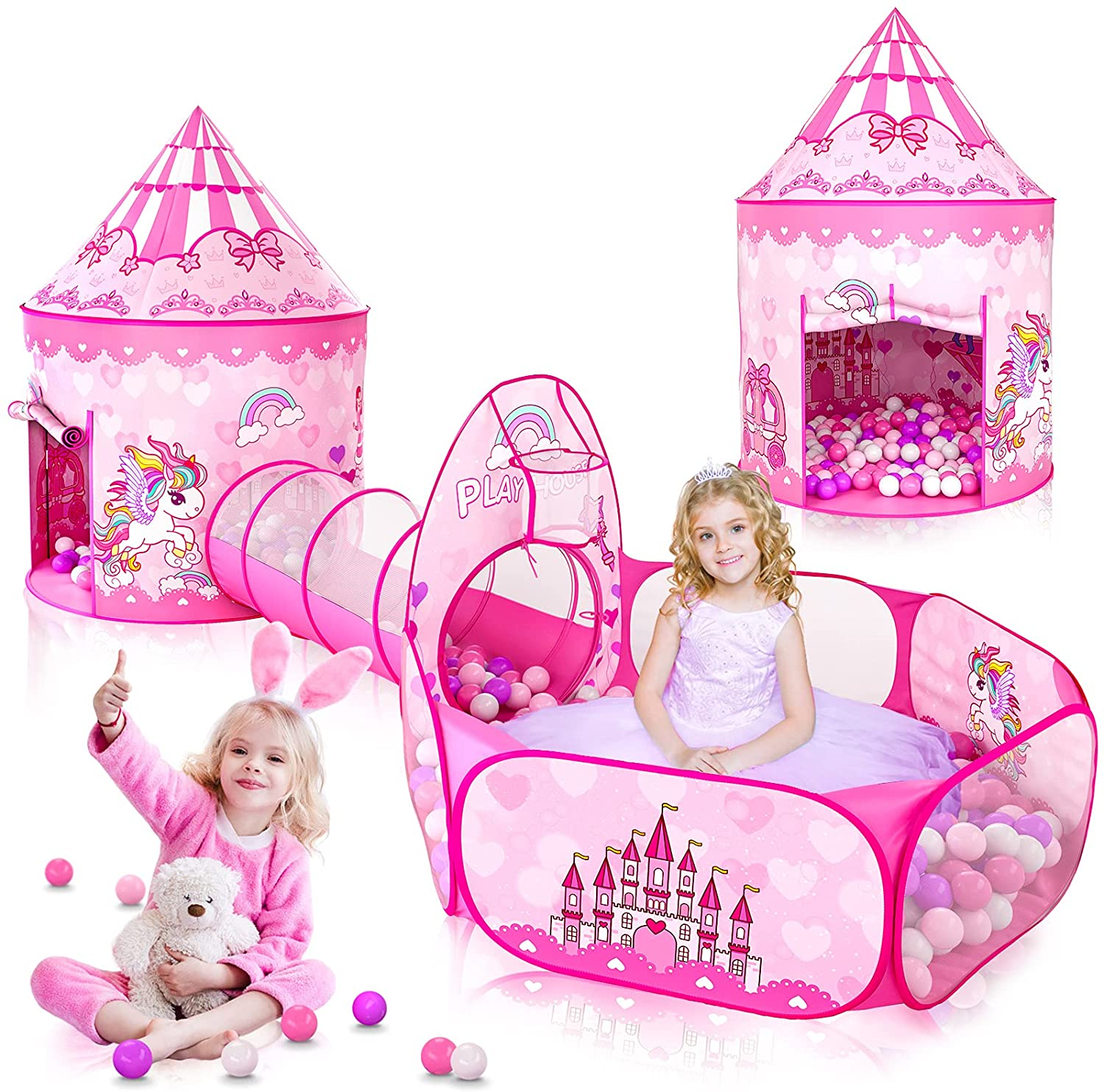 3PC Princess Tent for Girls with Kids Ball Pit, Kids Play Tents and Crawl Tunnel for Toddlers, Pink Pop Up Playhouse Toys for Baby Indoor& Outdoor Tent Games, Birthday Kid's Gifts (Pink Princess 3pc)