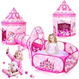 3PC Princess Tent for Girls with Kids Ball Pit, Kids Play Tents and Crawl Tunnel for Toddlers, Pink Pop Up Playhouse Toys for