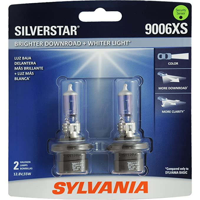SYLVANIA - 9006XS SilverStar - High Performance Halogen Headlight Bulb,  High Beam, Low Beam and Fog Replacement Bulb, Brighter Downroad with Whiter