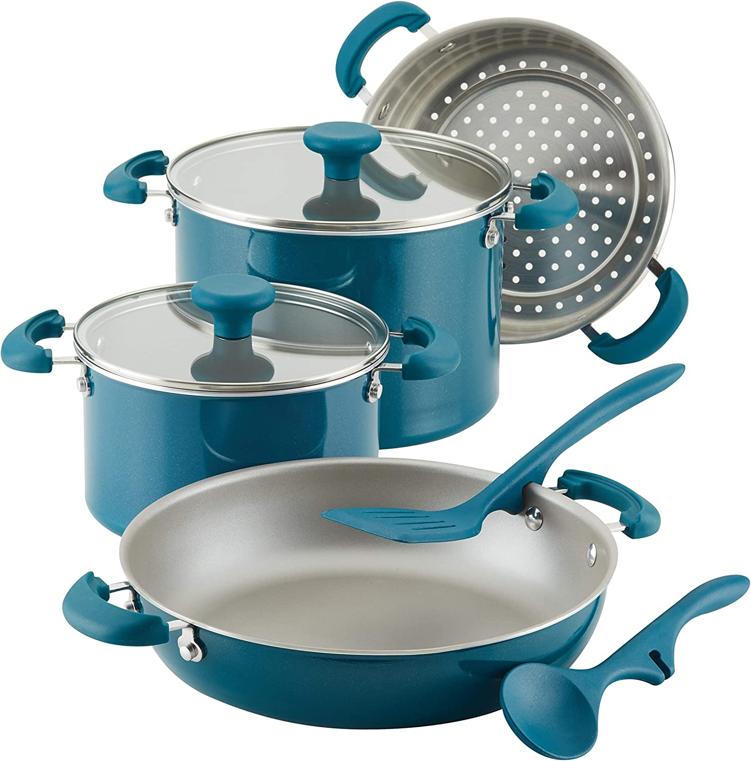Rachael Ray 8-Piece Aluminum Cookware Set, Teal Shimmer