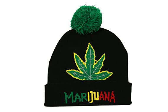 cbed71e328e Turn Up Bobble Pom Beanie Hat Rasta Marijuana Leaf in Black Green ...