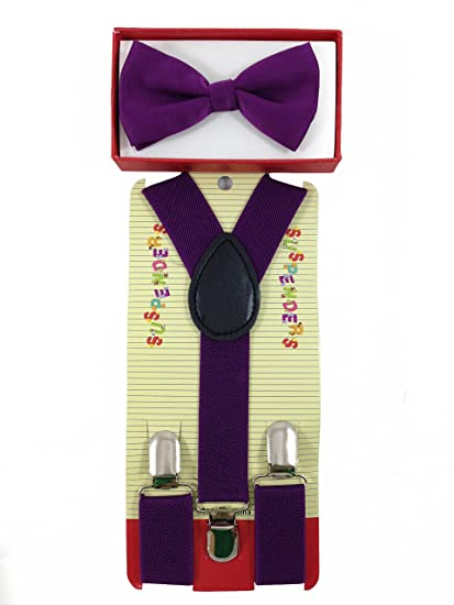 1431d71bbe1a Amazon.com: New Suspender Bow Tie Matching Colors Toddler Kids Boys Girls  Child (Purple): Clothing