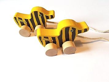 2 X Little Tiger Tiger Pato Madera 6 Cm Con Cuerda Un Juego