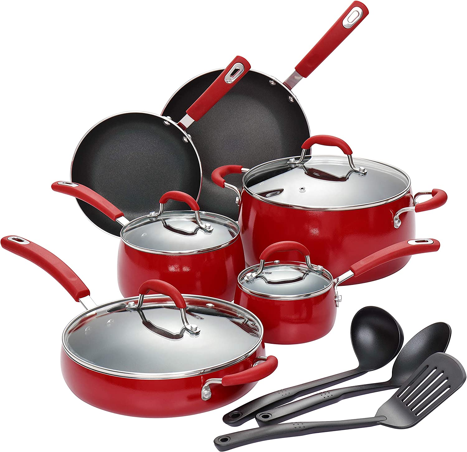 Finnhomy Super Value Hard-Anodized Aluminum Cookware Set Double Nonstick Coating Kitchen Pots and Pan Set 13-Piece with Red Handle Professional for Home Restaurant