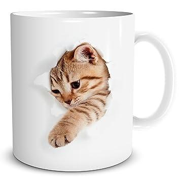 TRIOSK Tasse Katze bricht durch Kaffeebecher, Geschenk für ...