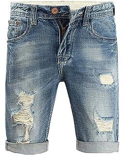 ac6371da5f95 Minetom Herren Sommer Bermuda Jeans Cargo Shorts Vintage Freizeit Stretch  Destroyed Used-Look Kurze Hose