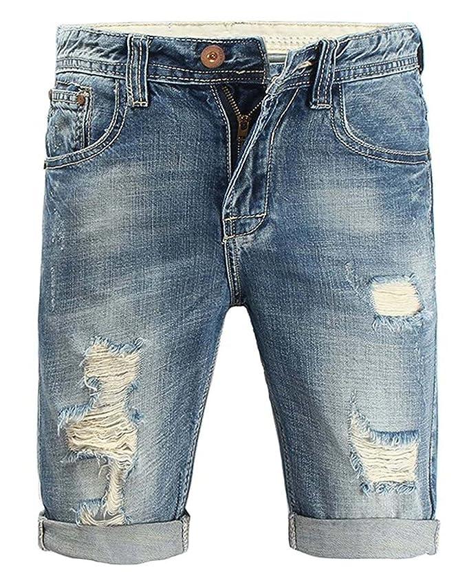 Minetom Moda Bermudas Shorts Hombre de Estilo Jeans Pantalón ...